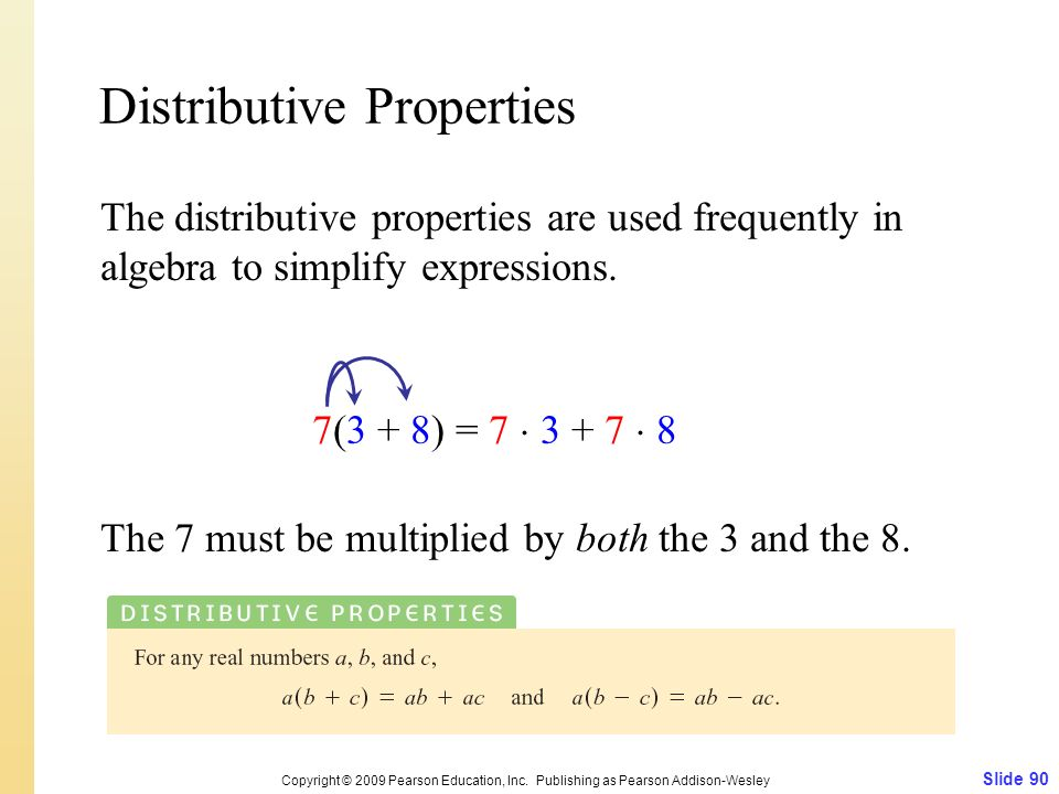 Distributive Properties Slide 90 Copyright © 2009 Pearson Education, Inc. Publishing as Pearson Addison-Wesley The distributive properties are used fr