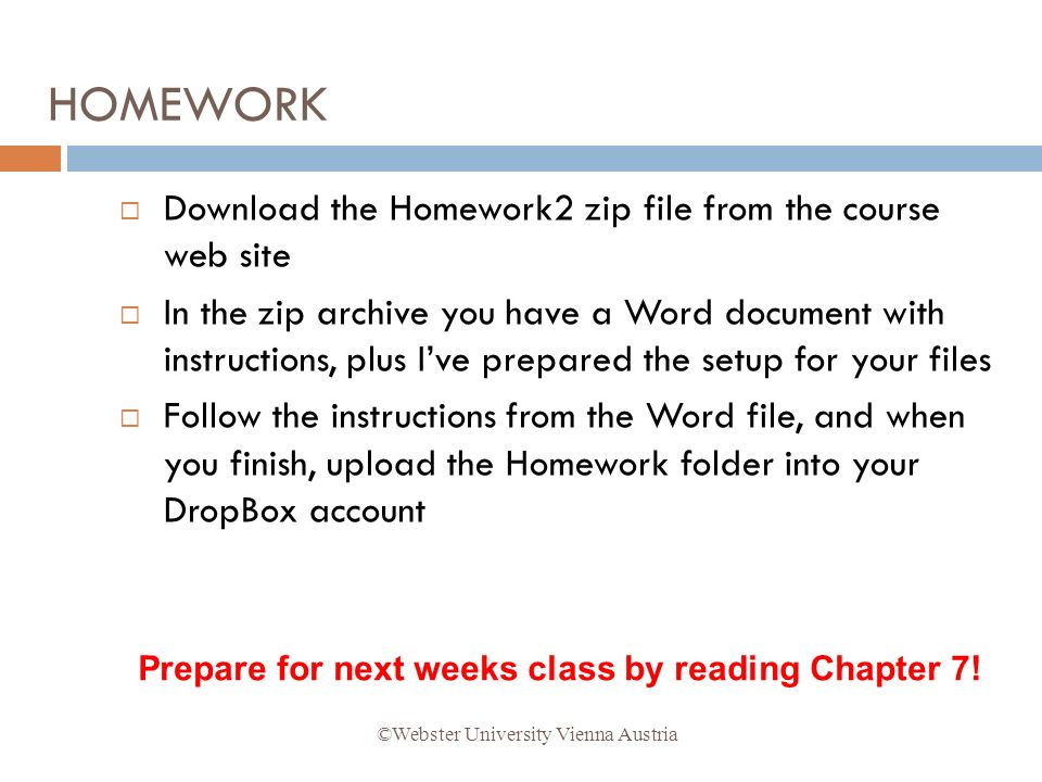 Download the Homework2 zip file from the course web site In the zip archive you have a Word document with instructions, plus Ive prepared the setup fo