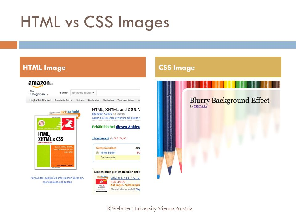 HTML vs CSS Images HTML ImageCSS Image ©Webster University Vienna Austria