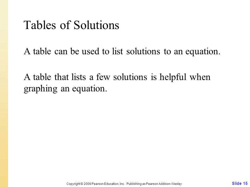 Tables of Solutions Slide 15 Copyright © 2009 Pearson Education, Inc. Publishing as Pearson Addison-Wesley A table can be used to list solutions to an