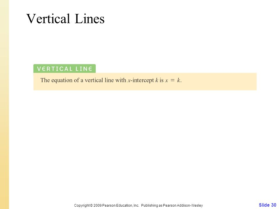 Slide 30 Copyright © 2009 Pearson Education, Inc. Publishing as Pearson Addison-Wesley Vertical Lines