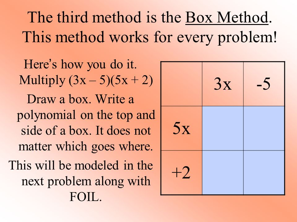 The third method is the Box Method. This method works for every problem.