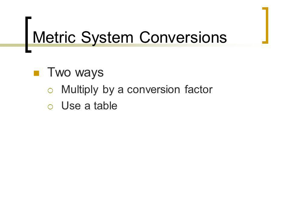 Metric System Conversions Two ways Multiply by a conversion factor Use a table