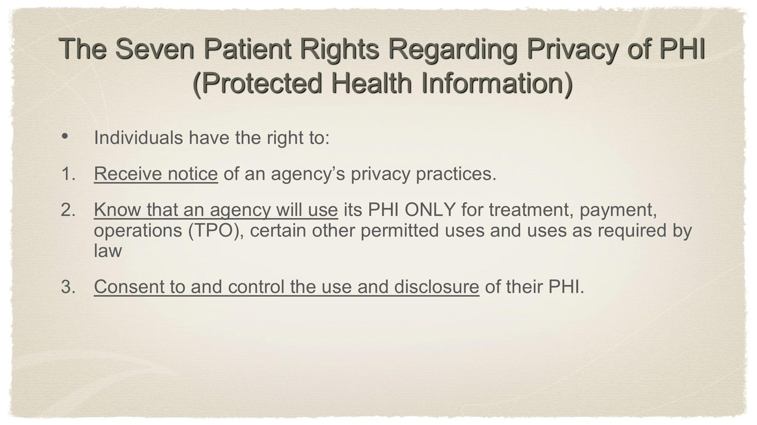 The Seven Patient Rights Regarding Privacy of PHI (Protected Health Information) Individuals have the right to: 1. Receive notice of an agencys privac