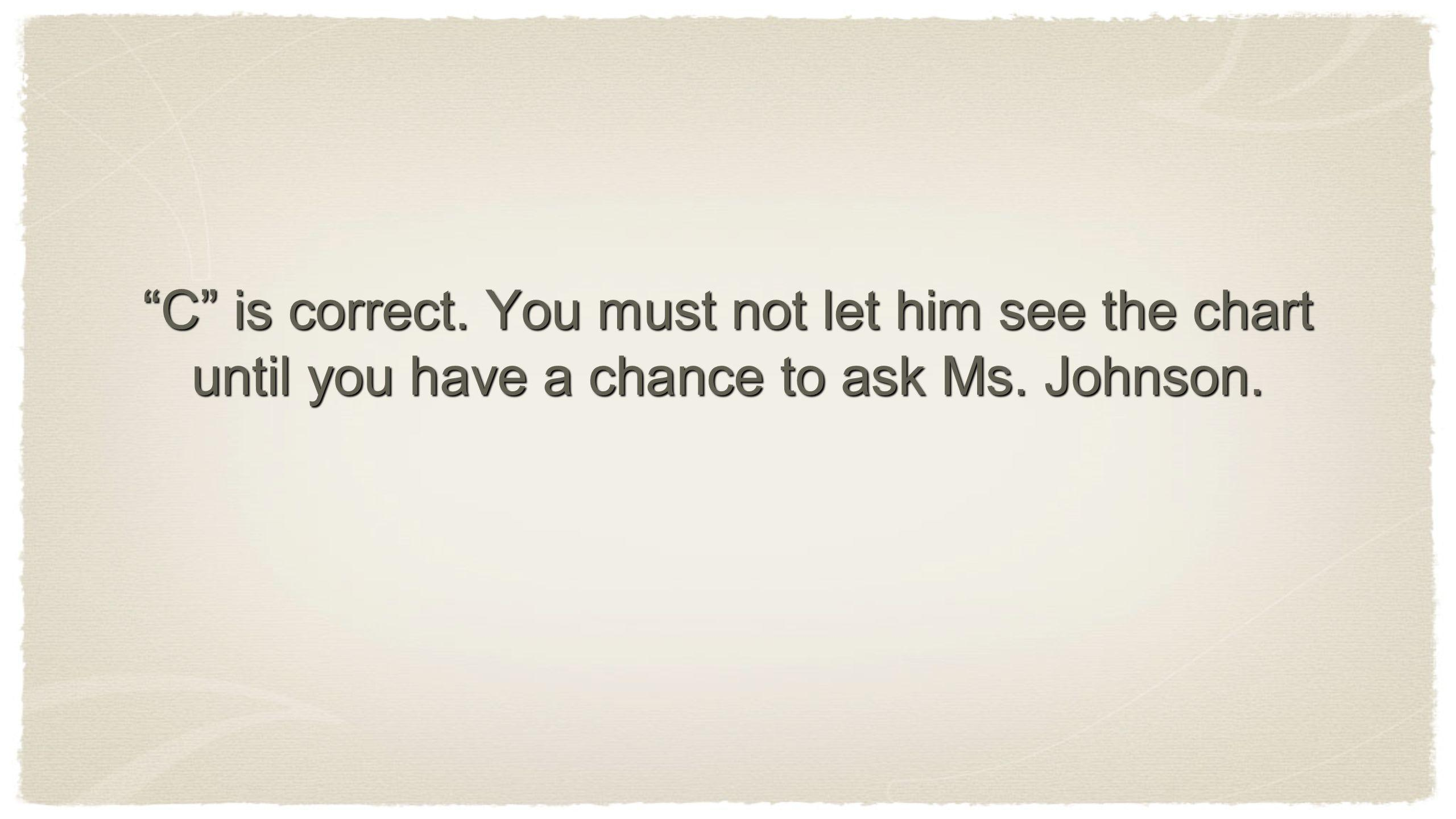 C is correct. You must not let him see the chart until you have a chance to ask Ms. Johnson.
