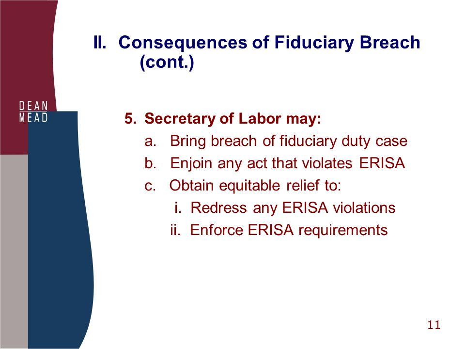 11 II. Consequences of Fiduciary Breach (cont.) 5.Secretary of Labor may: a.