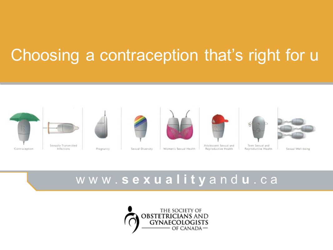 w w w. s e x u a l i t y a n d u. c a Choosing a contraception thats right for u