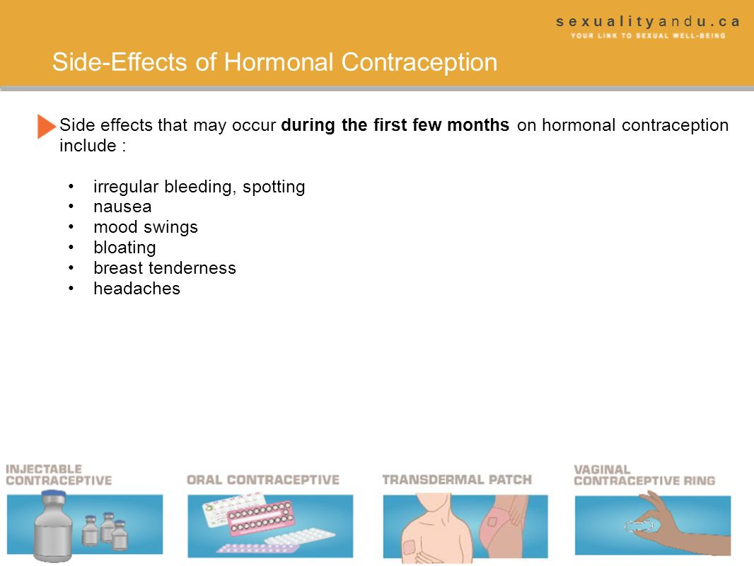 s e x u a l i t y a n d u. c a Side-Effects of Hormonal Contraception Side effects that may occur during the first few months on hormonal contraceptio