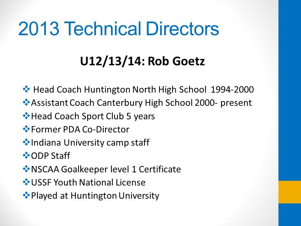 2013 Technical Directors U12/13/14: Rob Goetz Head Coach Huntington North High School 1994-2000 Assistant Coach Canterbury High School 2000- present H