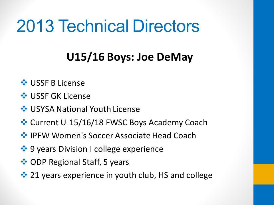 2013 Technical Directors U15/16 Boys: Joe DeMay USSF B License USSF GK License USYSA National Youth License Current U-15/16/18 FWSC Boys Academy Coach