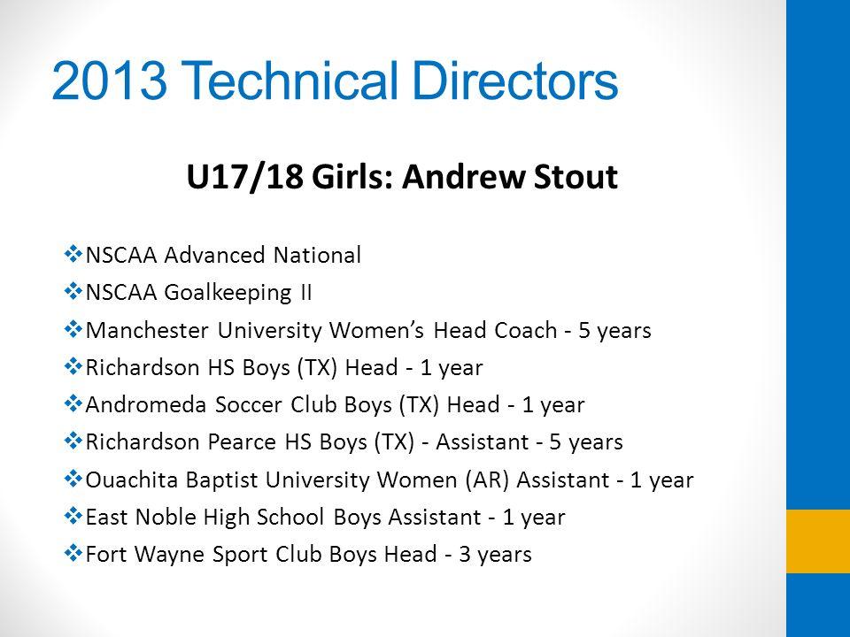 2013 Technical Directors U17/18 Girls: Andrew Stout NSCAA Advanced National NSCAA Goalkeeping II Manchester University Womens Head Coach - 5 years Ric