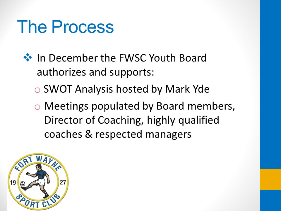 The Process In December the FWSC Youth Board authorizes and supports: o SWOT Analysis hosted by Mark Yde o Meetings populated by Board members, Direct
