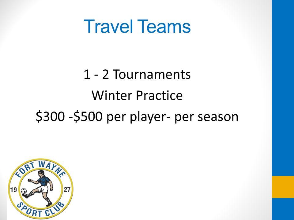 Travel Teams 1 - 2 Tournaments Winter Practice $300 -$500 per player- per season