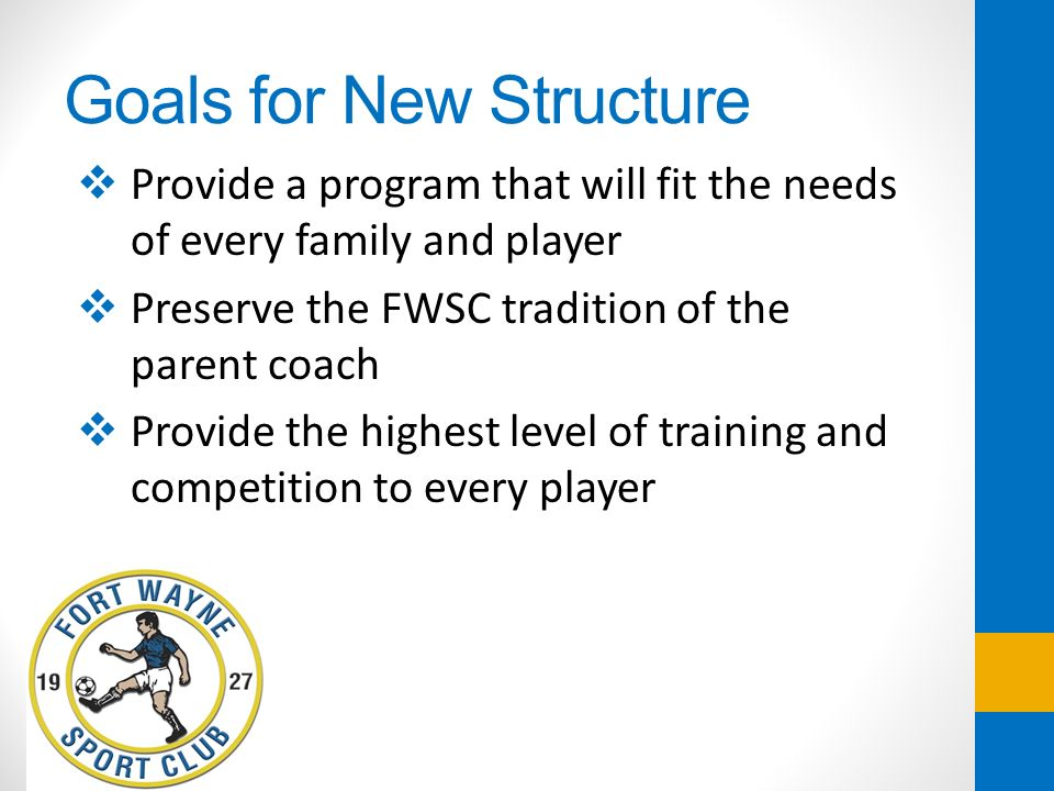 Goals for New Structure Provide a program that will fit the needs of every family and player Preserve the FWSC tradition of the parent coach Provide t