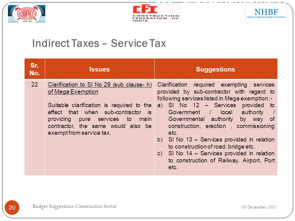 Indirect Taxes – Service Tax 03 December 2012 Budget Suggestions-Construction Sector 20 Sr.