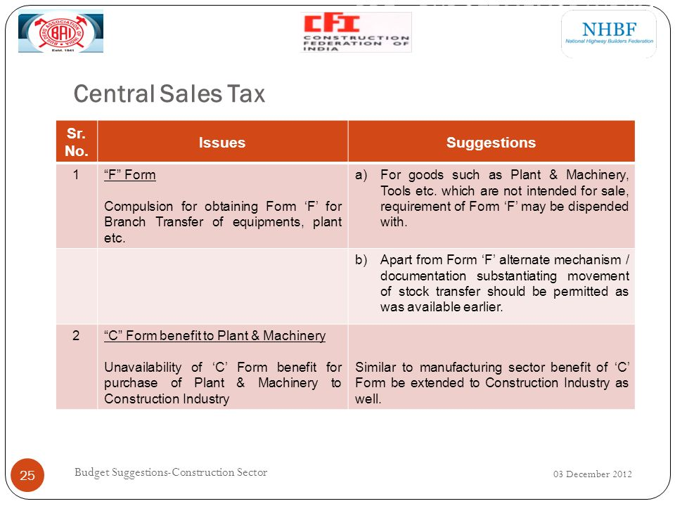 Central Sales Tax 03 December 2012 Budget Suggestions-Construction Sector 25 Sr.