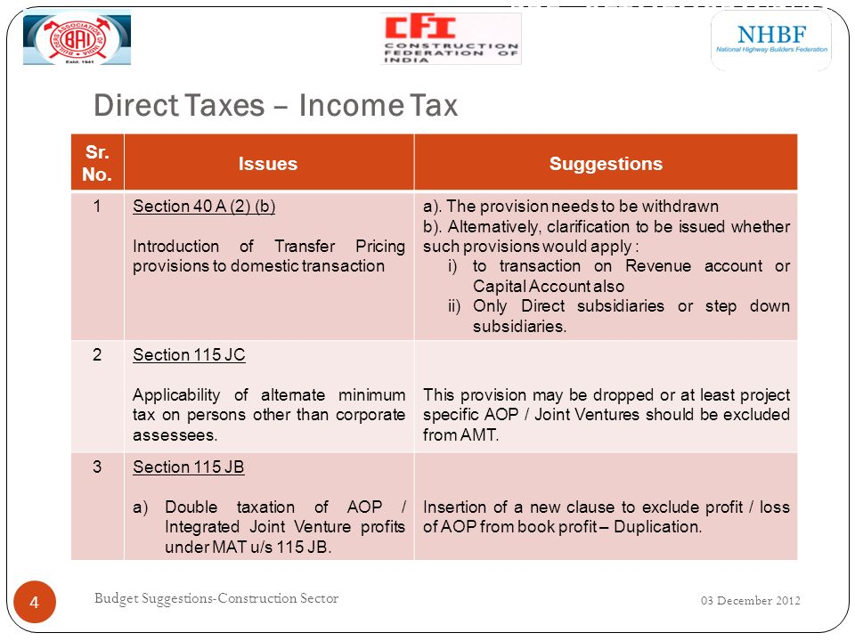 Direct Taxes – Income Tax 03 December 2012 Budget Suggestions-Construction Sector 5 Sr.