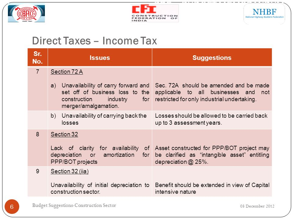 Direct Taxes – Income Tax 03 December 2012 Budget Suggestions-Construction Sector 6 Sr.