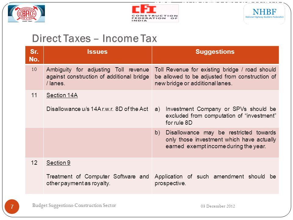 Direct Taxes – Income Tax 03 December 2012 Budget Suggestions-Construction Sector 7 Sr.