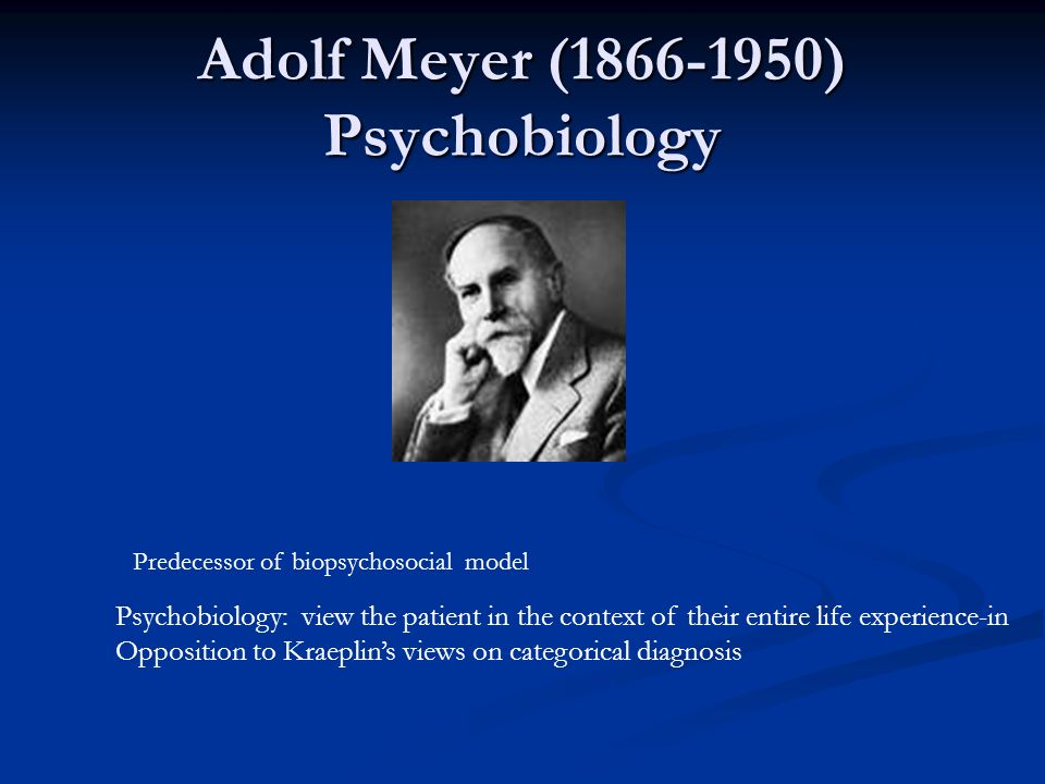 Adolf Meyer (1866-1950) Psychobiology Psychobiology: view the patient in the context of their entire life experience-in Opposition to Kraeplins views
