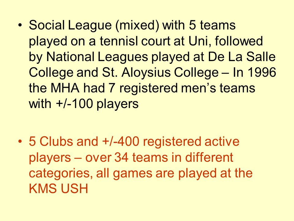 Social League (mixed) with 5 teams played on a tennisl court at Uni, followed by National Leagues played at De La Salle College and St.