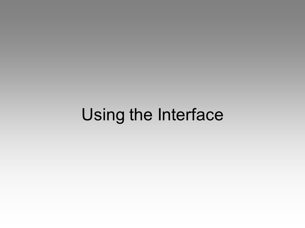 Using the Interface