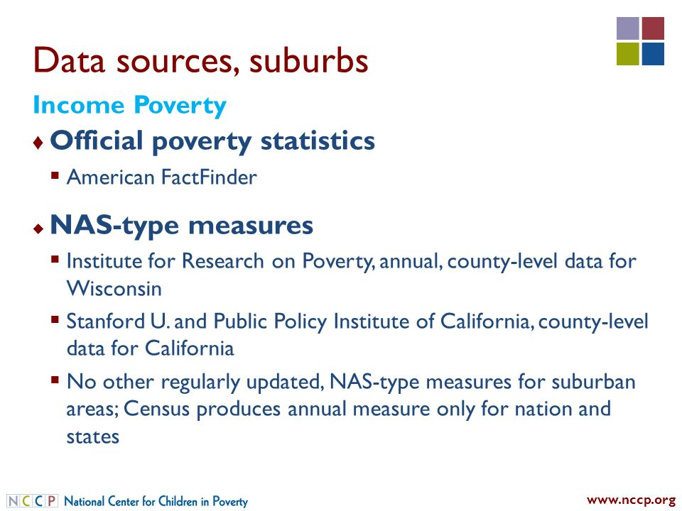 Data sources, suburbs Official poverty statistics American FactFinder NAS-type measures Institute for Research on Poverty, annual, county-level data for Wisconsin Stanford U.