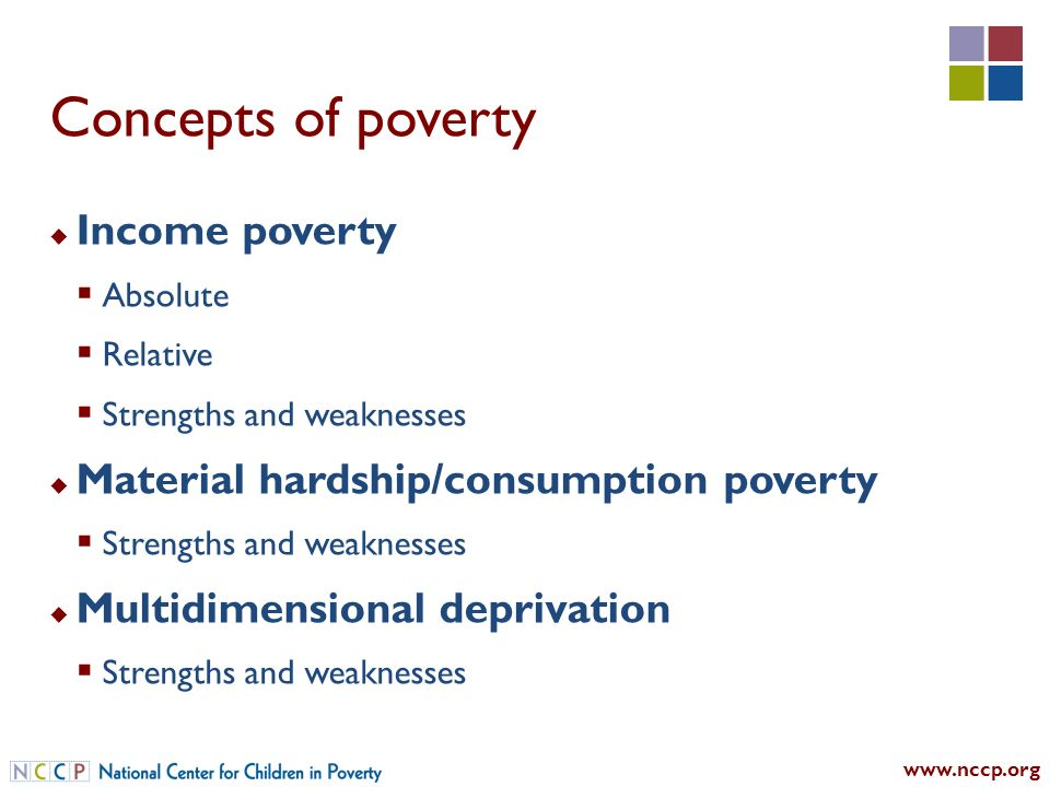 Concepts of poverty Income poverty Absolute Relative Strengths and weaknesses Material hardship/consumption poverty Strengths and weaknesses Multidimensional deprivation Strengths and weaknesses
