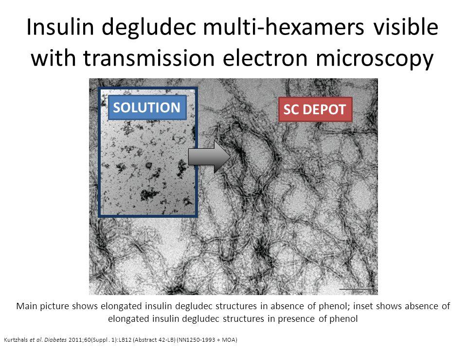 Kurtzhals et al. Diabetes 2011;60(Suppl. 1):LB12 (Abstract 42-LB) (NN1250-1993 + MOA) Insulin degludec multi-hexamers visible with transmission electr