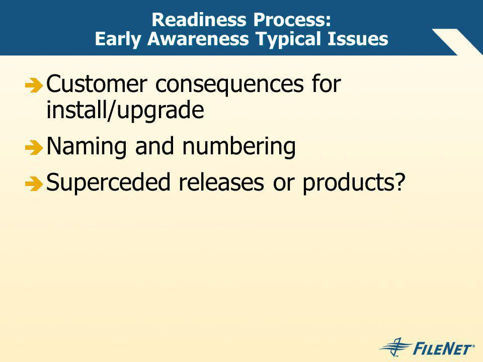 Readiness Process: Early Awareness Typical Issues Customer consequences for install/upgrade Naming and numbering Superceded releases or products?
