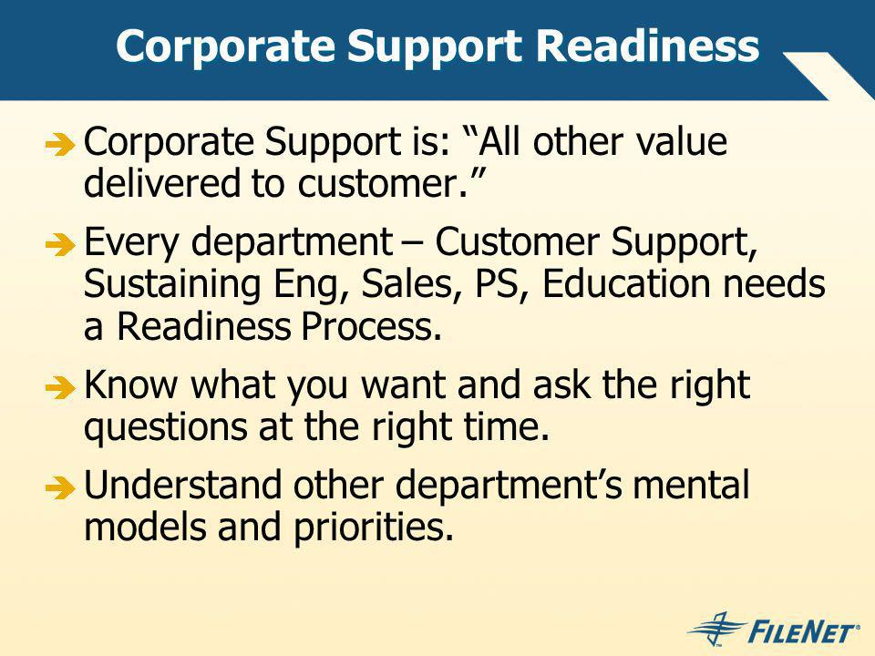 Corporate Support Readiness Corporate Support is: All other value delivered to customer.