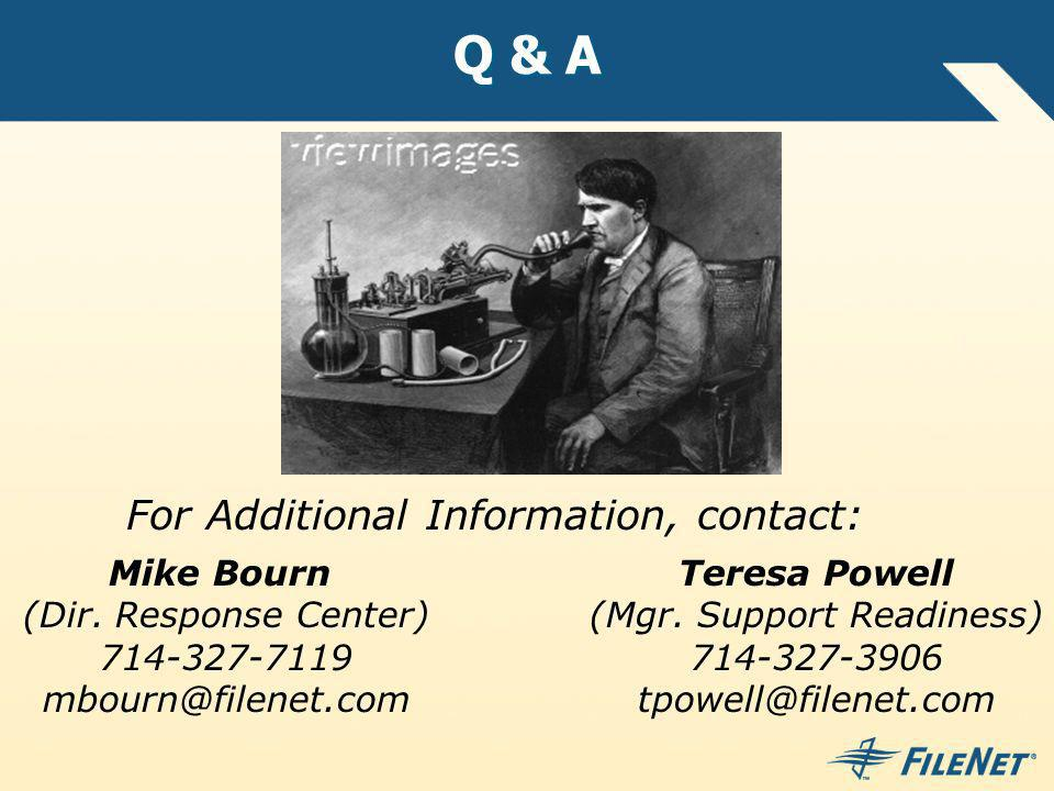 Q & A Mike Bourn (Dir. Response Center) 714-327-7119 mbourn@filenet.com Teresa Powell (Mgr. Support Readiness) 714-327-3906 tpowell@filenet.com For Ad