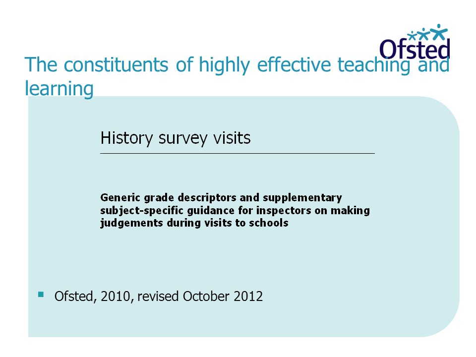 The constituents of highly effective teaching and learning Ofsted, 2010, revised October 2012