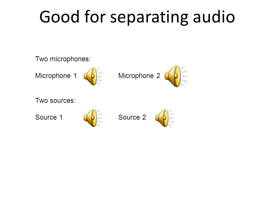 Good for separating audio Two microphones: Microphone 1Microphone 2 Two sources: Source 1Source 2