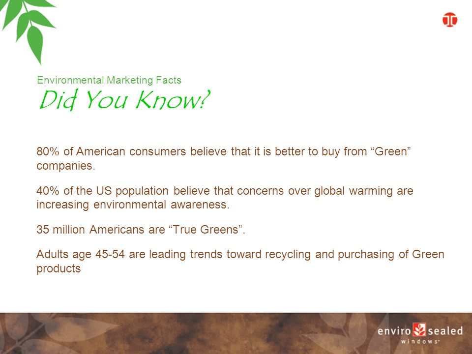Environmental Marketing Facts 80% of American consumers believe that it is better to buy from Green companies.