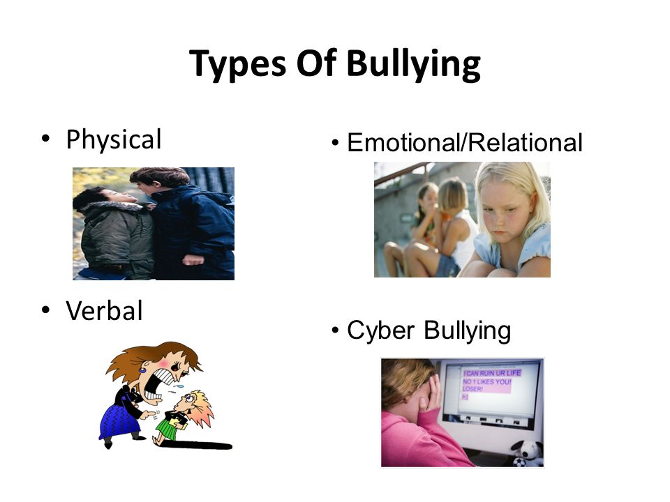 Types Of Bullying Physical Verbal Emotional/Relational Cyber Bullying