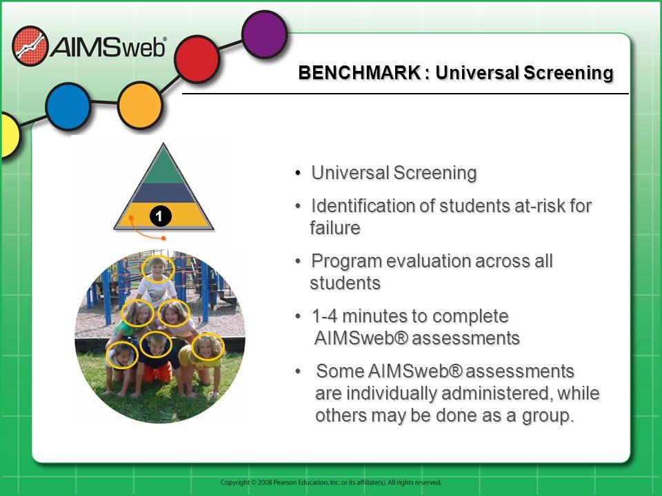 BENCHMARK : Universal Screening Universal Screening Universal Screening Identification of students at-risk for failure Identification of students at-r