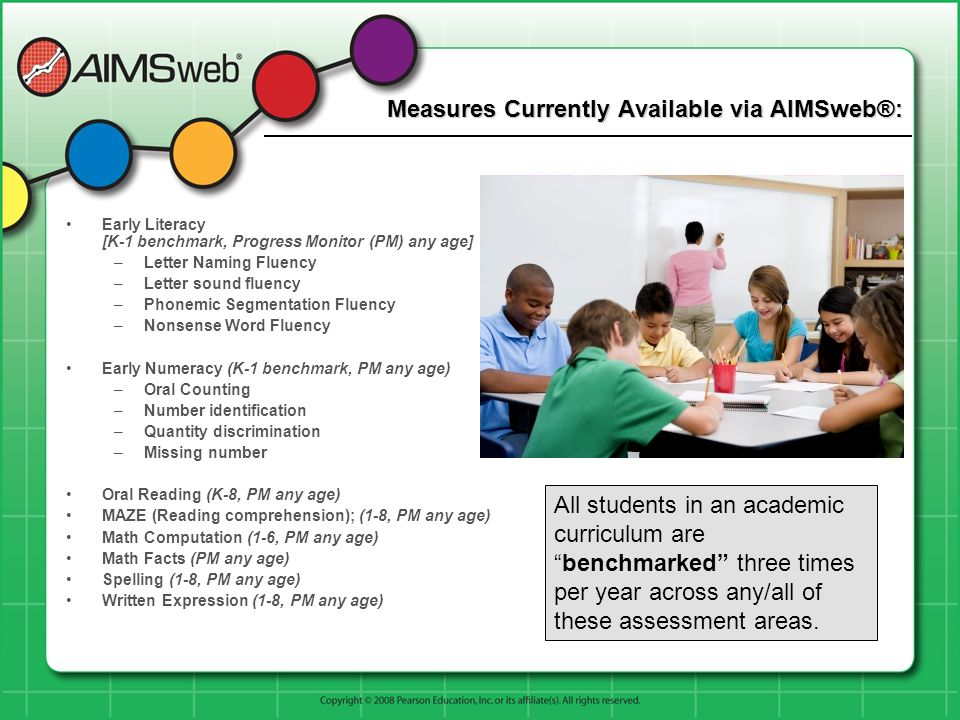 Measures Currently Available via AIMSweb®: Early Literacy [K-1 benchmark, Progress Monitor (PM) any age] –Letter Naming Fluency –Letter sound fluency