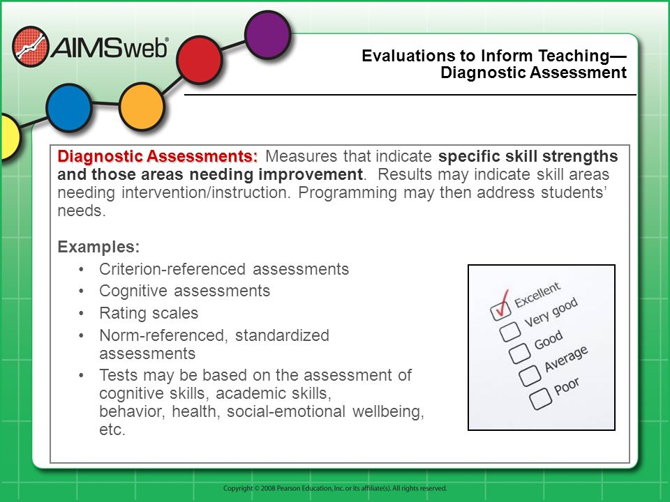 Evaluations to Inform Teaching Diagnostic Assessment Diagnostic Assessments: Diagnostic Assessments: Measures that indicate specific skill strengths a