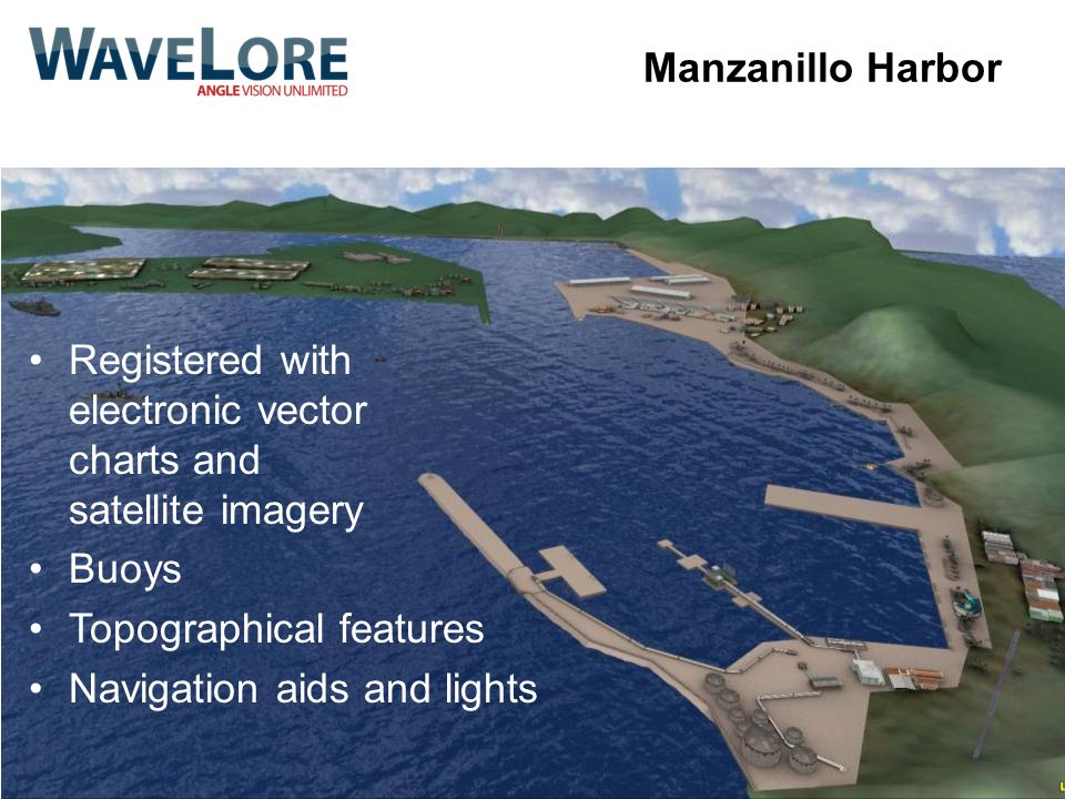Manzanillo Harbor Registered with electronic vector charts and satellite imagery Buoys Topographical features Navigation aids and lights