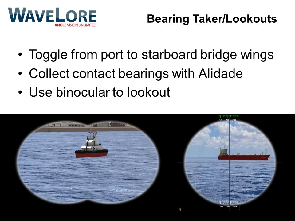Toggle from port to starboard bridge wings Collect contact bearings with Alidade Use binocular to lookout Bearing Taker/Lookouts
