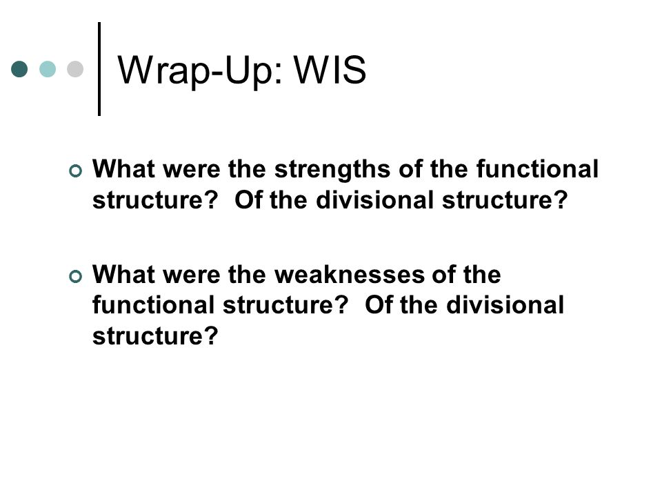 Wrap-Up: WIS What were the strengths of the functional structure.