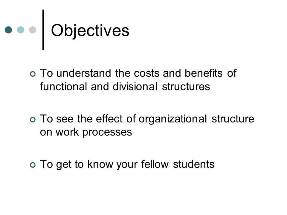 Objectives To understand the costs and benefits of functional and divisional structures To see the effect of organizational structure on work processes To get to know your fellow students