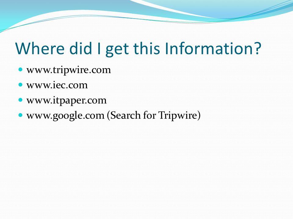Where did I get this Information? www.tripwire.com www.iec.com www.itpaper.com www.google.com (Search for Tripwire)
