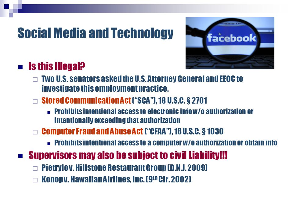 Social Media and Technology Supervisors may also be subject to civil Liability!!.
