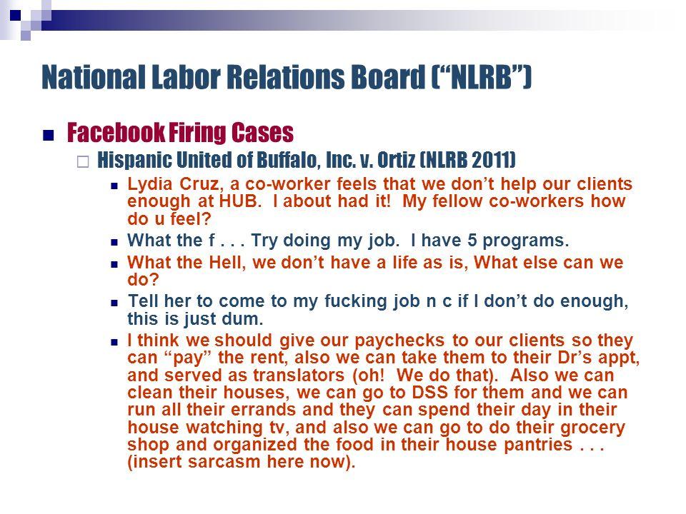 National Labor Relations Board (NLRB) Facebook Firing Cases Hispanic United of Buffalo, Inc.