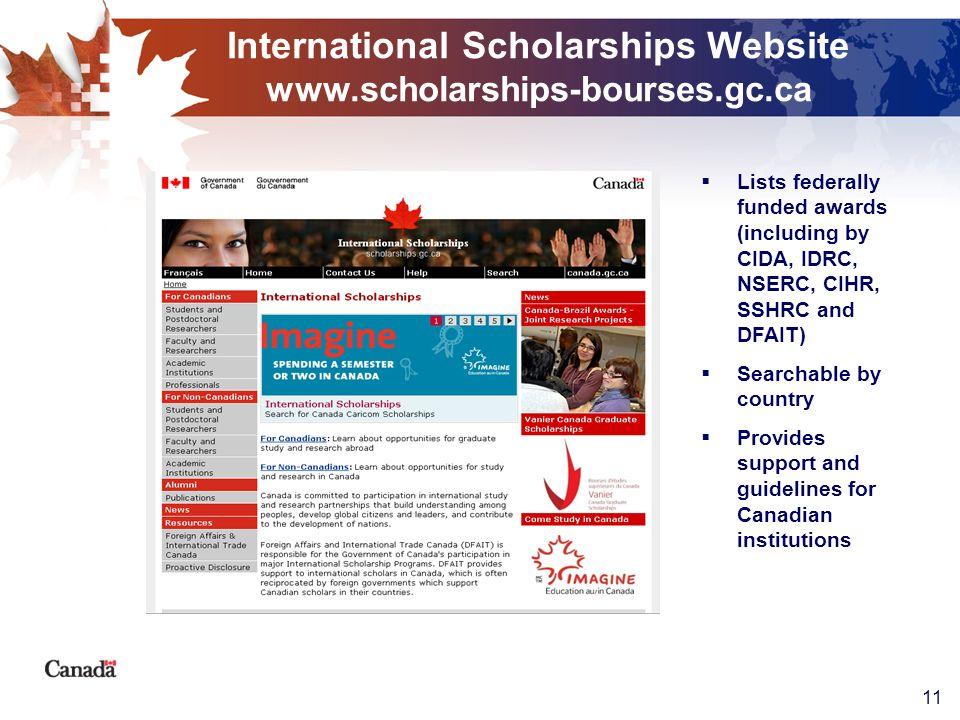 11 International Scholarships Website www.scholarships-bourses.gc.ca Lists federally funded awards (including by CIDA, IDRC, NSERC, CIHR, SSHRC and DF