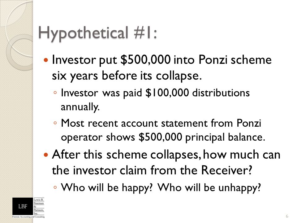 Hypothetical #1: Investor put $500,000 into Ponzi scheme six years before its collapse. Investor was paid $100,000 distributions annually. Most recent