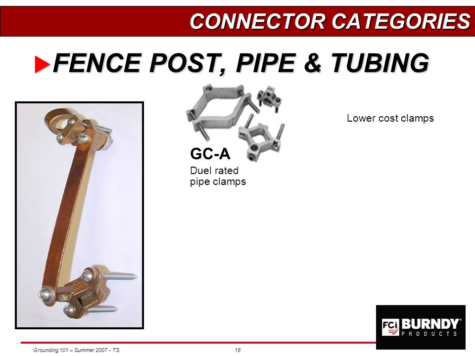 Grounding 101 – Summer 2007 - TS17 FENCE POST, PIPE & TUBING FENCE POST, PIPE & TUBING KC Servit post GG Cable or braid to rod GAR-TC Cable at 45 90 d