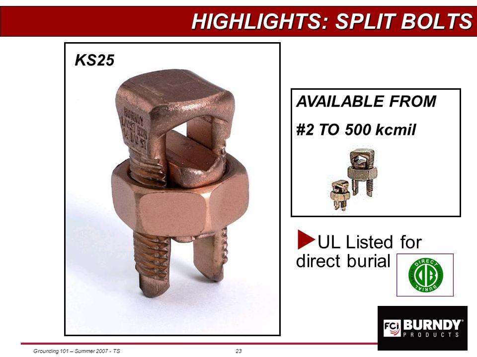Grounding 101 – Summer 2007 - TS22 RAIL & BEAM RAIL & BEAM TRANSFORMER TRANSFORMER KC Servit post QGFL Eye in basket GA-H Cable to H beam or tube J&RG